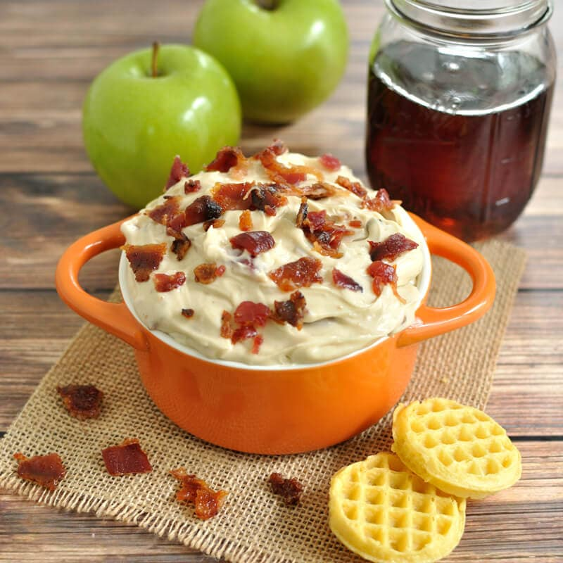 Creamy dip recipe with real maple syrup and candied bacon. Great for dipping mini waffles or apple slices.