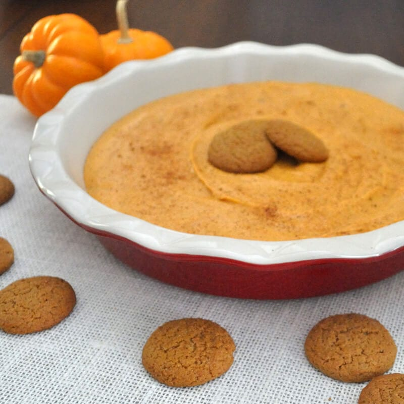 Easy, sweet pumpkin dip tastes just like pumpkin pie. Great for a fall appetizer or dessert. Serve with ginger snaps, apples, or graham crackers.