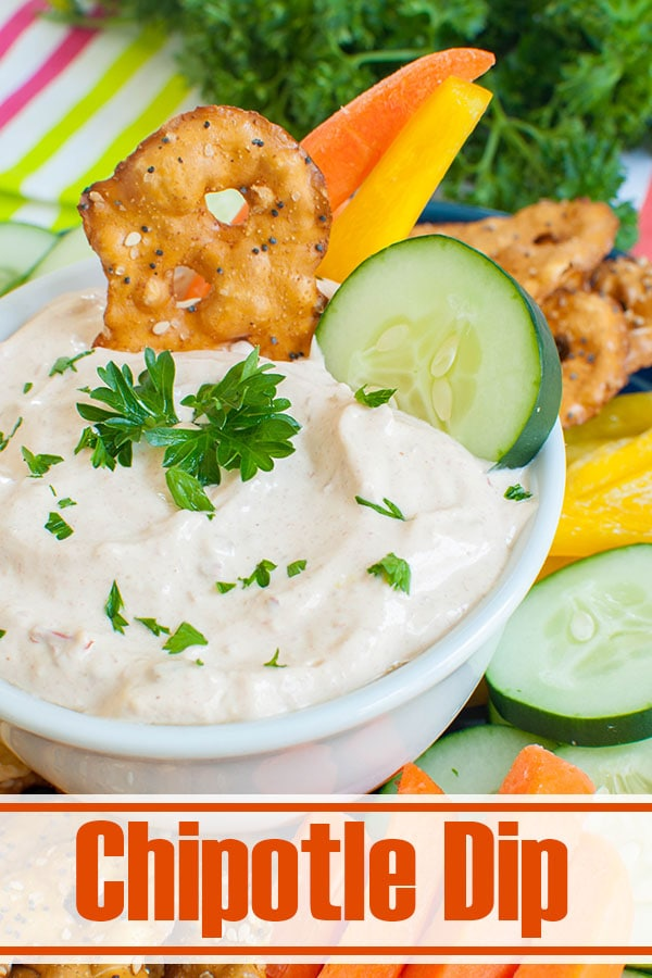 white bowl of Chipotle Mayonnaise Dip with veggies