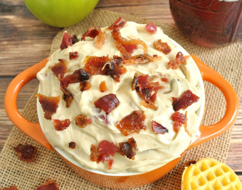 Maple Bacon Dip- Creamy dip recipe with real maple syrup and candied bacon. Great for dipping mini waffles or apple slices.