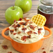 Creamy dip recipe with real maple syrup and candied bacon. Maple Bacon Dip is great for dipping mini waffles or apples. Serve as a breakfast or dessert dip.