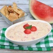 Great summer dessert dip recipe with chunks of real watermelon and a hint of cinnamon. Serve watermelon cheesecake dip with cinnamon pita chips or fruit.