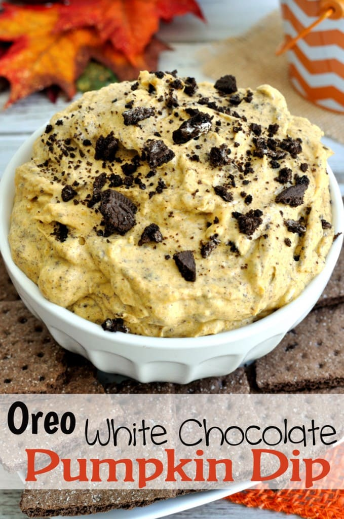 Pumpkin dip recipe with crushed Oreos and white chocolate chips. Great dessert dip for Halloween or Thanksgiving.