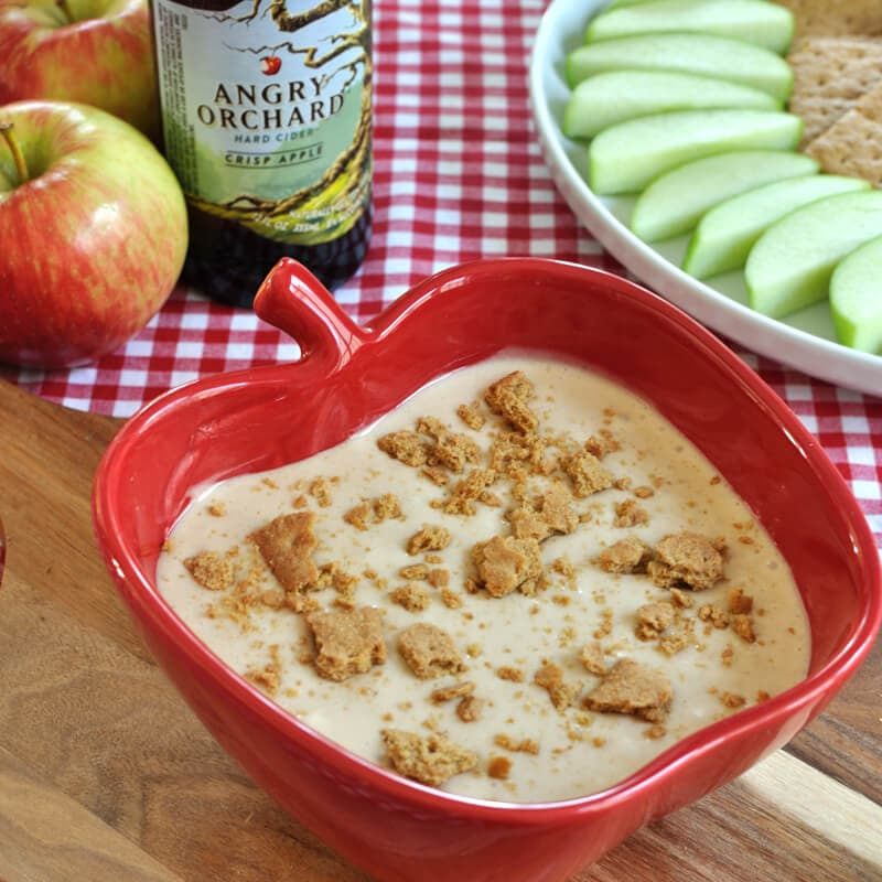 Fun and easy dessert cream cheese fruit dip recipe- This one is for the adults!. Hard apple cider fruit dip will be a hit at your fall or Halloween party.