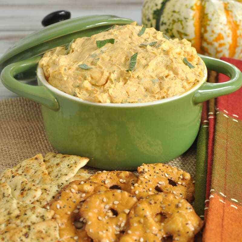 Easy dip recipe makes a great Thanksgiving appetizer. This white cheddar, pumpkin, and sage dip is perfect for any fall gathering. Serve with crackers or pretzels.