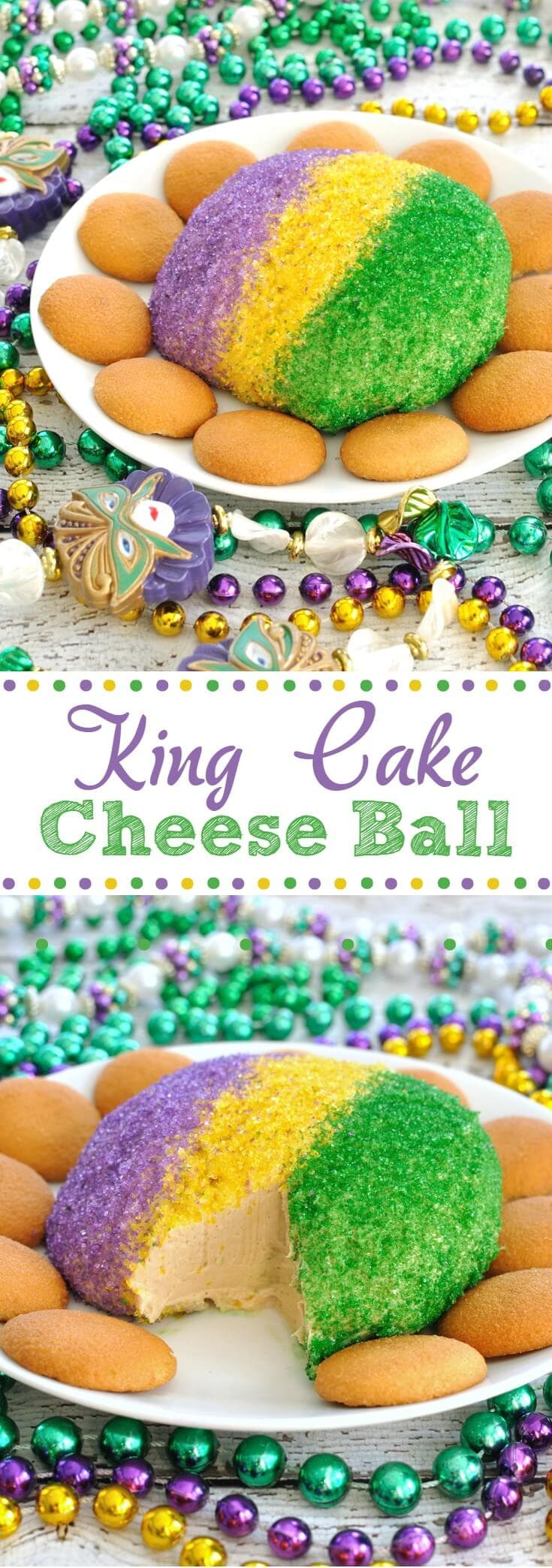 King Cake Cheese Ball for Mardi Gras