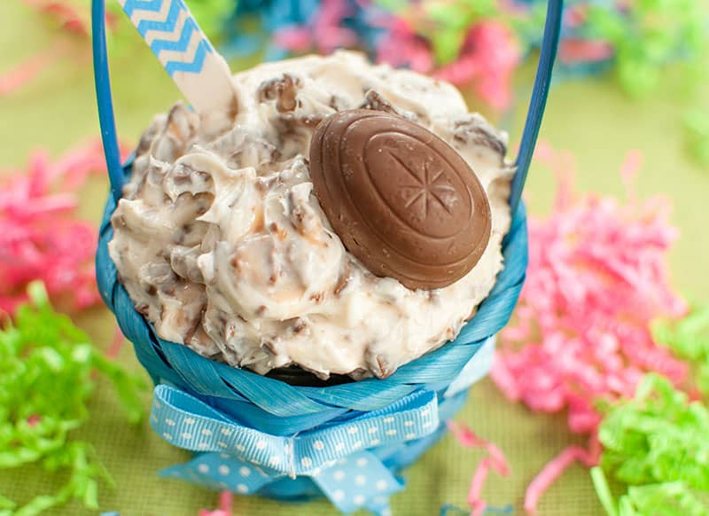 blue Easter basket with a bowl of Cadbury Creme Egg Dip