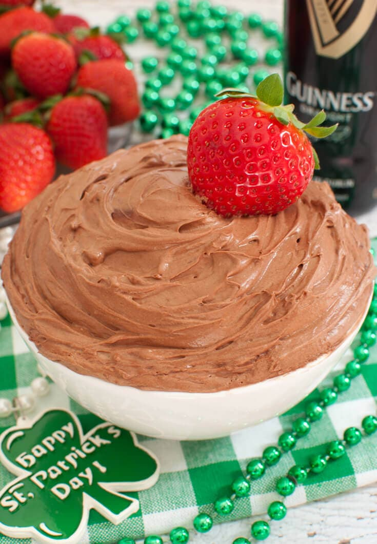 Creamy, fluffy Guinness Chocolate Stout Fruit Dip is made with Guinness stout beer and cocoa. Takes just a few minutes to whip together this easy fruit dip.