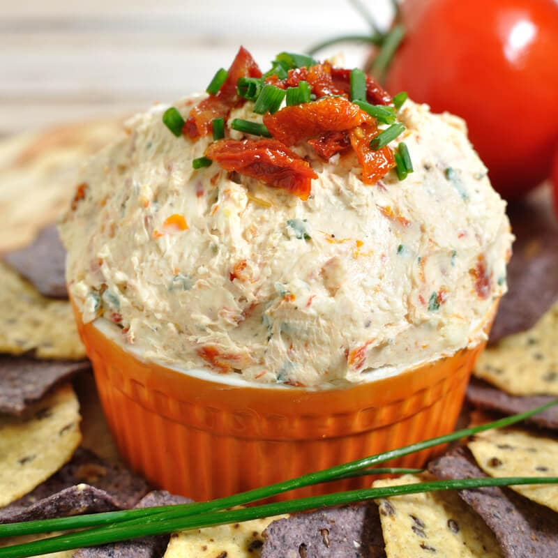 5 minute Sun Dried Tomato Gorgonzola Dip. The sweetness from sun dried tomatoes balances out the tangy crumbles of gorgonzola in this easy dip recipe.