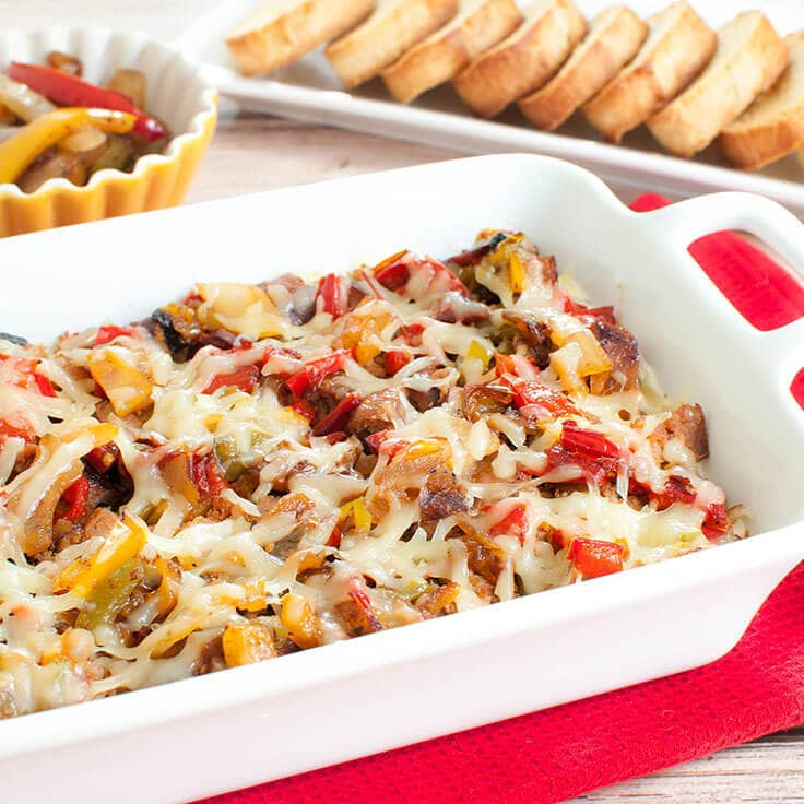 Sausage Dip with Grilled Peppers and Onions