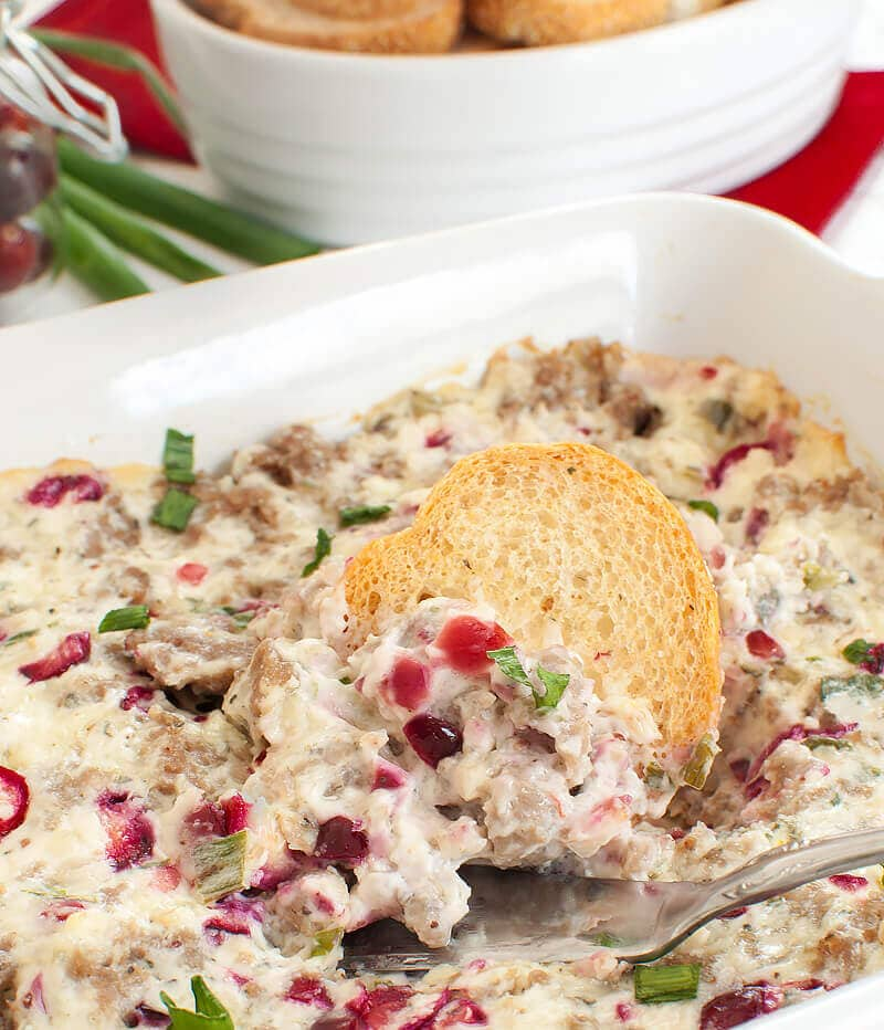 Warm Sausage Cranberry Cream Cheese Dip