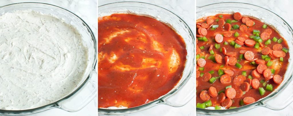 3 photos of pepperoni pizza dip ingredients spread into a pie dish