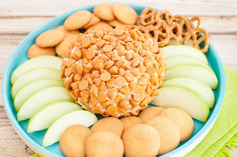 a no bake caramel cheesecake cheese ball on a light blue plate with apple slices, cookies and pretzels