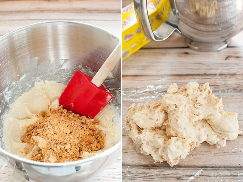 Process photos for making a no bake caramel cheesecake cheese ball