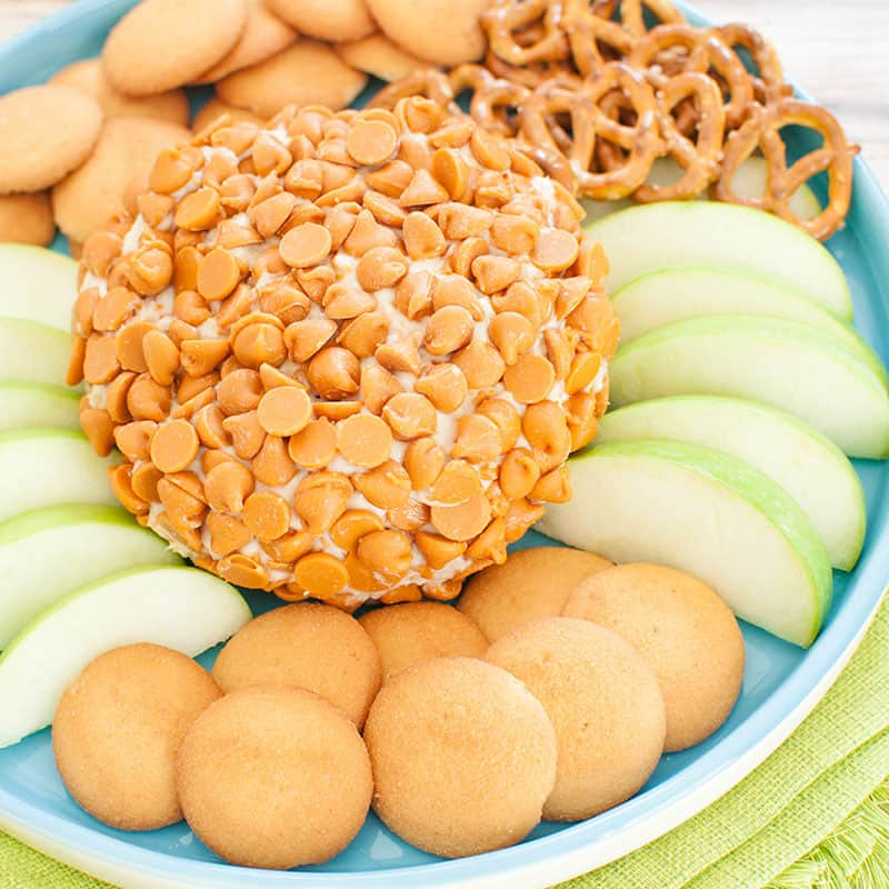 caramel cheesecake cheese ball on a light blue platter