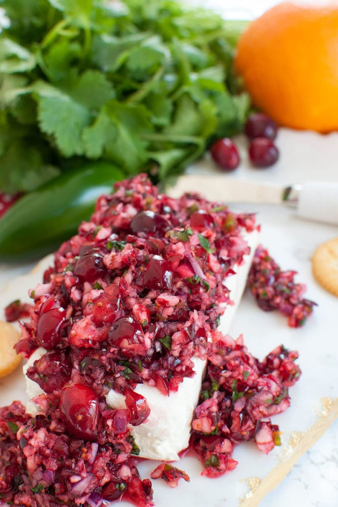 cranberry salsa over a block of cream cheese