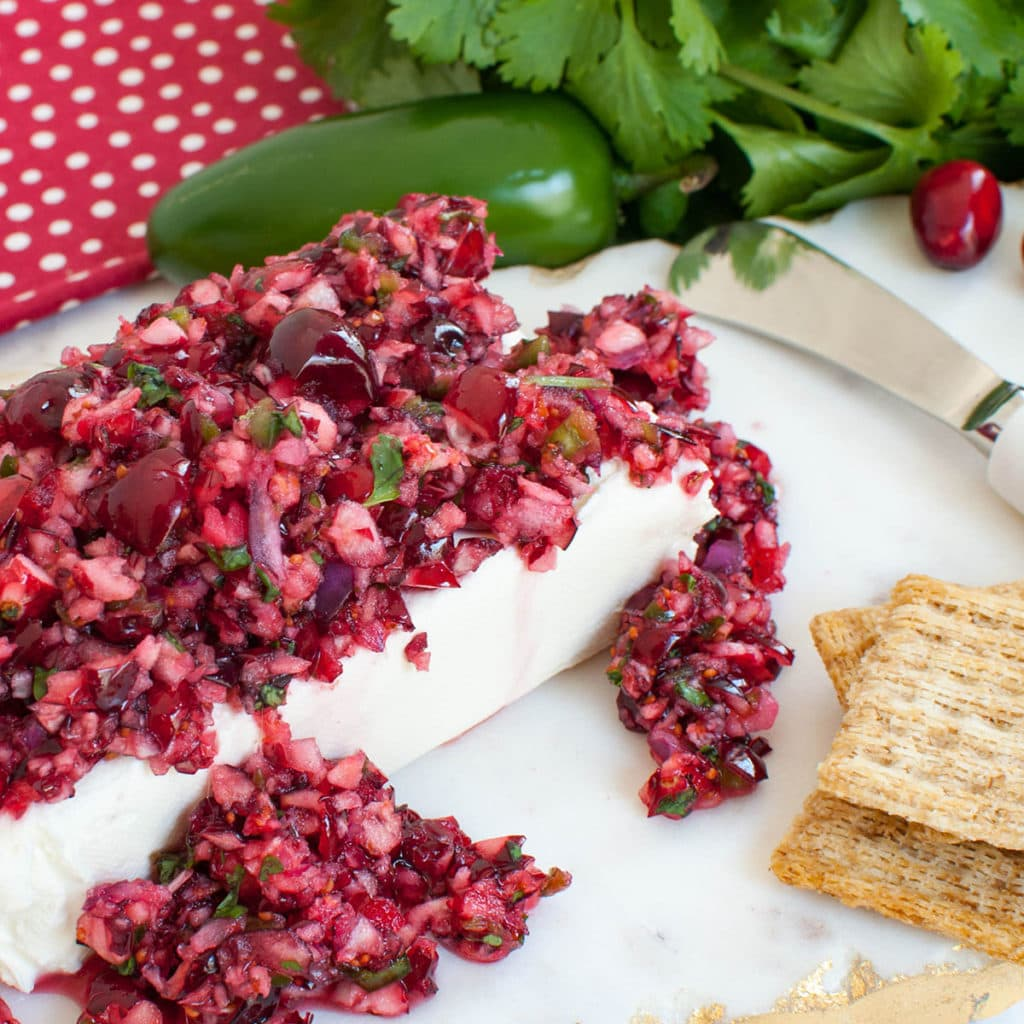 cream cheese block covered in cranberry salsa